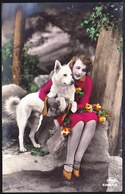 CARTE PHOTO JEUNE FILLE AVEC CHIEN BERGER BLANC SUISSE - SHEPHERD DOG - Amag 63882/6 - WEISSER SCHWEIZER SCHÄFERHUND - Chiens
