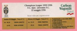 Biglietto D'ingresso Stadio Ajax Juventus 1996 - Biglietti D'ingresso