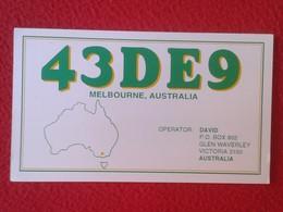 POSTAL POST CARD QSL RADIOAFICIONADOS RADIO AMATEUR MELBOURNE AUSTRALIA AUSTRALIE MAP MAPA OCEANÍA OCÉANIE VER FOTOS - Tarjetas QSL