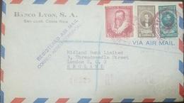 O) 1949 COSTA RICA, MIGUEL DE CERVANTES SAAVEDRA SC 250, SALVADOR LARA SC C179, BERNARDO SOTO SC C127, REGISTERED AIR MA - Costa Rica