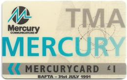 UK (Mercury) - TMA Bafta 1991, 20MERB - MER274, 2.975ex, Used - [ 4] Mercury Communications & Paytelco