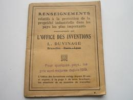 L'OFFICE Des INVENTIONS - Renseignements Relatifs à La Protection De La Propriété Industrielle (72 Pages) - Decretos & Leyes