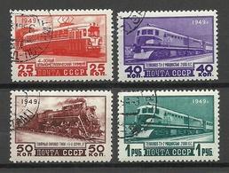 RUSSLAND RUSSIA 1949 Michel 1414 - 1417 O Railway Eisenbahn Train - 1923-1991 UdSSR