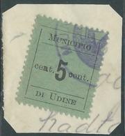 1918 OCCUPAZIONE AUSTRIACA MUNICIPIO DI UDINE USATO 5 CENT - RA7-9 - Udine
