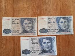 Lot De 3 Billets De 500 Pesetas Du 23/10/1979 - [ 4] 1975-… : Juan Carlos I