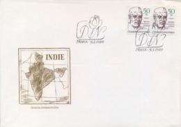 Czechoslovakia 1989 FDC Centenary Birth Of Jawaharlal Nehru Indian Statesman - Famous People