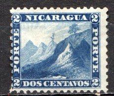 NICARAGUA - 1869-77 - N° 4 - 2 C. Bleu - (Bonnet Phrygien Au Sommet Du Volcan Momotombo) - Nicaragua