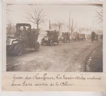 1912 GRÈVE CHAUFFEURS PORTE CHAMPERRET TAXIS AUTOS ESCORTES POLICE +-18*13CM Maurice-Louis BRANGER PARÍS  (1874-1950) - Coches
