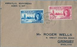 1947 , ADEN , SOBRE CIRCULADO , ADEN CAMP - GRIMSBY - Aden (1854-1963)