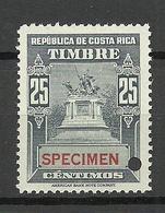 COSTA RICA Specimen Muestra Proof Essay MNH - Costa Rica