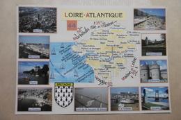 """Carte Géographique """"LOIRE ATLANTIQUE"""" Villes Diverses - Blason, Armoiries - 44 Département De La Loire-Atlantique - Landkarten"""