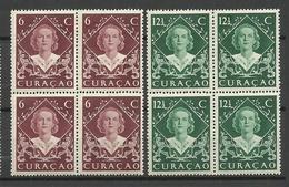 CURACAO 1948 Michel 286 - 287 Queen Juliana As 4-blocks MNH - Curacao, Netherlands Antilles, Aruba