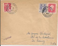 1950 - N° 670 + 691 + Complément Oblitérés Sur Lettre : CONSEIL DE L'EUROPE - STRASBOURG - 07/08/1950 - Frankreich