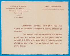 """Faire-Part Commercial Germaine EYMERY Rue De Constantinople 75008 Paris """"Curiosités De La Chine Et Du Japon"""" - Faire-part"""
