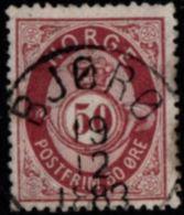 Norway, Norge 1877 Posthorn 50 Ore Blau Cancelled Bjoro - Oblitérés