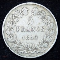 Louis Philippe - 5 FRANCS 1845 K Bordeaux - J. 5 Francs