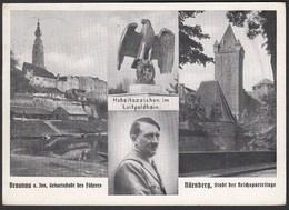 AK NS Propaganda Karte 3.Reich Hitler Braunau-Nürnberg Luipoldhain  (24456 - Militari