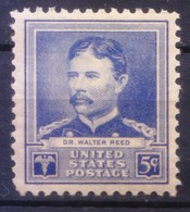 USA 1940 MNH, Army Physician Dr W Reed, Yellow Fever By Mosquito, Medicine - Krankheiten