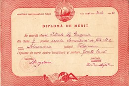 Romania, 1950-1951, Lot Of 2 Vintage School Merit Diplomas - Bucuresti - Diplomas Y Calificaciones Escolares