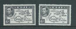 Fiji 1938 - 1955 KGVI Definitives 6d Map With 180 Degrees Both Perforations 13.5 & 12 MLH - Fiji (...-1970)