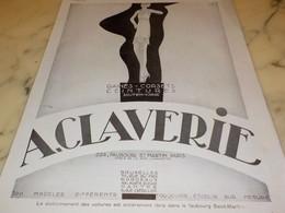 ANCIENNE PUBLICITE CORSET CEINTURE CLAVERIE 100 MODELES 1930 - Afiches