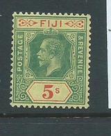 Fiji 1922 - 1937 KGV 5 Shillings Green & Red Fine Mint - Fiji (...-1970)