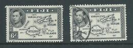 Fiji 1938 - 1955 KGVI Definitives 6d Map With 180 Degrees Both Perforations 13.5 & 12 FU - Fiji (...-1970)