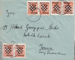 "Croatia Hrvatska NDH WWII 1941 Coat Of Arms (""Grbače"") 6x 0.50 Din Stamps On Letter - Croatia"