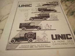 ANCIENNE PUBLICITE LA REINE DES CAMIONNETTES UNIC A PUTEAUX 1930 - Trucks