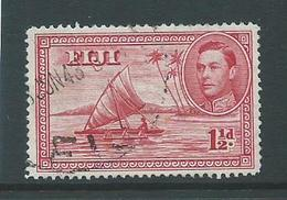Fiji 1938 - 1955 KGVI Definitives 1&1/2d Canoe With Man Die 2 Perforation 14 Used , 1 Short Perf. - Fiji (...-1970)