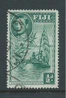 Fiji 1938 - 1955 KGVI Definitives 1/2d Green Canoe Perforation 14 FU - Fiji (...-1970)