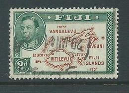 Fiji 1938 - 1955 KGVI Definitives 2d Map With 180 Degrees Die II FU - Fiji (...-1970)