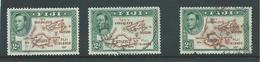 Fiji 1938 - 1955 KGVI Definitives 2d Map With 180 Degrees Die II X 3 Used Copies With Faults - Fiji (...-1970)