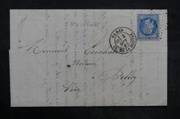 FRANCE - Lettre De Paris Pour Belley En 1868 , Affranchissement Napoléon, étoile 1  - L 35825 - Marcophilie (Lettres)
