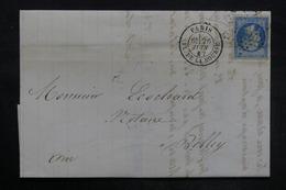FRANCE - Lettre De Paris Pour Belley En 1867 , Affranchissement Napoléon Avec Variété Point Blanc Au Cou - L 35827 - Marcophilie (Lettres)
