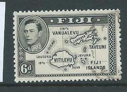 Fiji 1938 - 1955 KGVI Definitives 6d Map No 180 Degrees Die I FU - Fiji (...-1970)