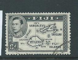 Fiji 1938 - 1955 KGVI Definitives 6d Map No 180 Degrees Die I Used , Small Corner Fault - Fiji (...-1970)