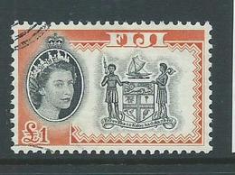 Fiji 1962 QEII 1 Pound Coat Of Arms Definitive VFU - Fiji (...-1970)