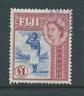 Fiji 1954 QEII 1 Pound Bugler Definitive FU , Neat Purple Fiscal Cds - Fiji (...-1970)