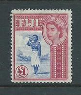 Fiji 1954 QEII 1 Pound Bugler Definitive VFU - Fiji (...-1970)
