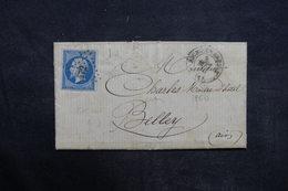 FRANCE - Lettre De Bourg En Bresse Pour Belley En 1860 , Affranchissement Napoléon, PC 472 - L 35849 - 1849-1876: Période Classique