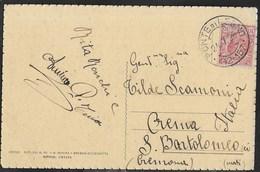 STORIA POSTALE REGNO - ANNULLO FRAZIONARIO DC PONTE DI LEGNO (12-157) 24.07.1928 SU CARTOLINA - Marcophilia