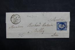 FRANCE - Lettre De Pont-d'Ain Pour Belley En 1856, Affranchissement Napoléon PC 2496 - L 35857 - Storia Postale