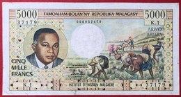 N°184 BILLET DE BANQUE 5000 FRANCS MADAGASCAR 1966 - Madagascar
