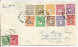 1946 - EXCEPTIONNEL - N° 702 à 711 (SERIE COMPLETE) Sur Lettre RECOMMANDEE - PARIS Vers NEW-YORK - France