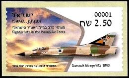 ISRAEL 2019 - Israeli Air Force Fighter Jets - DASSAULT MIRAGE IIICJ - Philatelic Bureau ATM # 001 Label - MNH - Militaria
