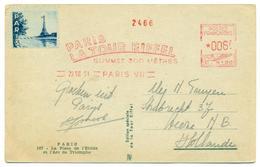 Oblitération Souvenir Sommet Tour Eiffel PARIS 1951 (vignette). - Mechanical Postmarks (Other)