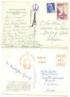 2 CP Oblitération Souvenir Sommet Tour Eiffel PARIS 1960 1946 (vignette). - Mechanical Postmarks (Other)