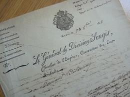 GENERAL REVOLUTION Charles SONGIS L'ainé (1752-1840) Abbaye CERISY. CAEN Eaux & Forêts. AUTOGRAPHE - Autographs