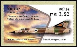 ISRAEL 2019 - Israeli Air Force Fighter Jets - DASSAULT MIRAGE IIICJ - Haifa ATM # 714 Label - MNH - Militaria